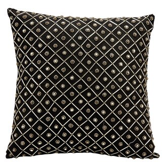 Mina Victory Luminescence Bridal Diamonds Black Throw Pillow by Nourison (16 x 16-inch)