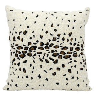 Mina Victory Luminescence Beaded Leopard Ivory Throw Pillow by Nourison (20 x 20-inch)