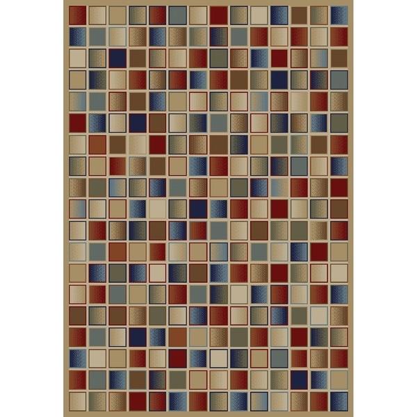 Jewel Checkerboard Gold Polypropylene/Olefin Machine-made Rug (2'7 x 4')