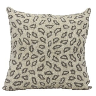 Mina Victory Luminescence Beaded Leopard Pewter Throw Pillow by Nourison (18 x 18-inch)