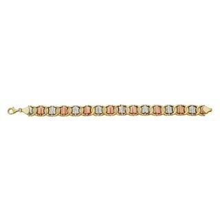 Decadence 14k Tricolor Gold Diamond-cut Bracelet