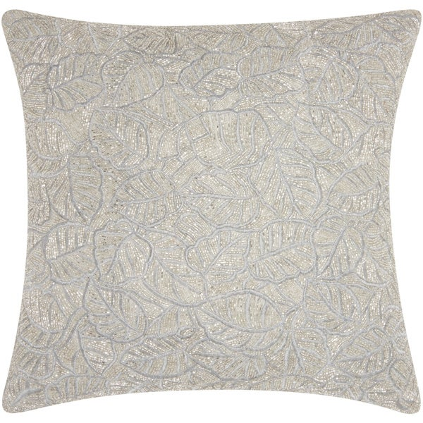 Mina Victory Luminescence Beaded Leaves Silver Throw Pillow by Nourison (20 x 20-inch)
