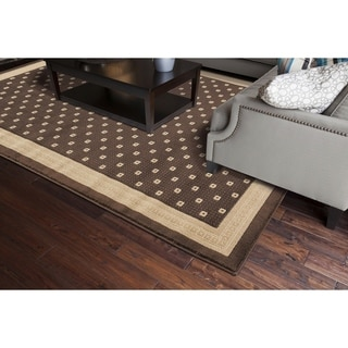 Machine -made Juliette Collection Anise Brown Polypropylene Rug (6'7 x 9'3)