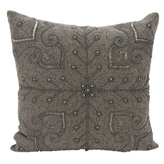 Mina Victory Luminescence Persian Scroll Pewter Throw Pillow by Nourison (18-Inch X 18-Inch)