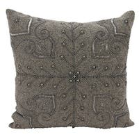Mina Victory Luminescence Persian Scroll Pewter Throw Pillow by Nourison (18 x 18-inch)