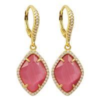 Luxiro Gold Finish Sterling Silver Cubic Zirconia Sliced Glass Teardrop Earrings