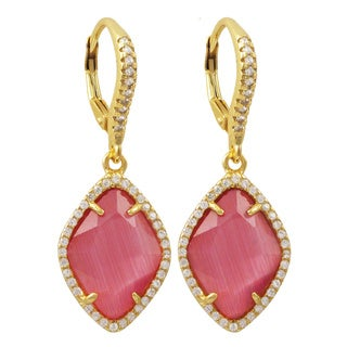 Luxiro Gold Finish Sterling Silver Cubic Zirconia Sliced Glass Teardrop Earrings (5 options available)