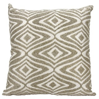 Mina Victory Luminescence Beaded Waves Silver Throw Pillow by Nourison (18 x 18-inch)