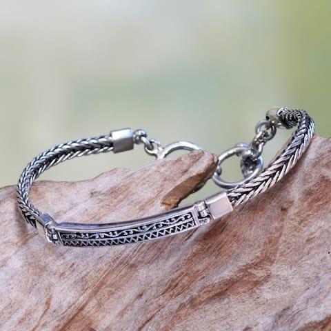 NOVICA Handmade Sterling Silver 'Ayung Wave' Bracelet (Indonesia)