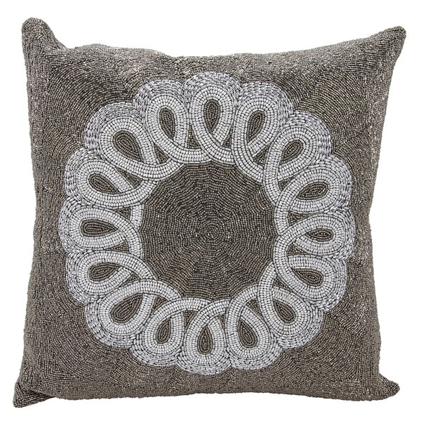 Mina Victory Luminescence Infinity Center Scroll Pewter/Silver Throw Pillow by Nourison (20 x 20-inch)