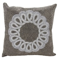 Mina Victory Luminescence Infinity Center Scroll Pewter/Silver Throw Pillow by Nourison (20-Inch X 20-Inch)