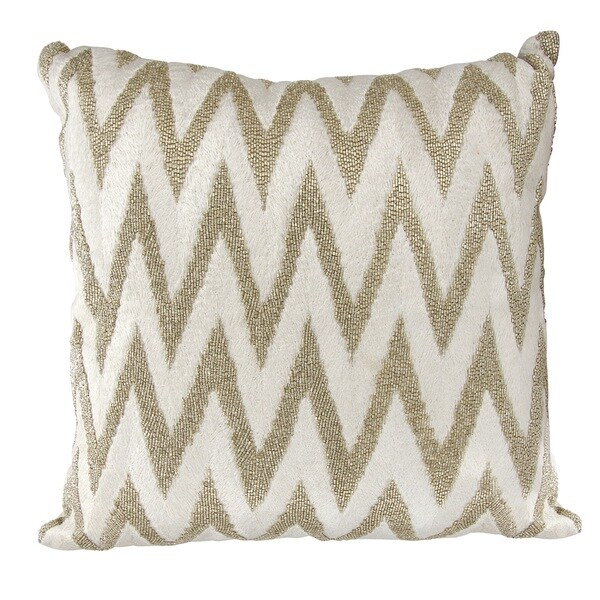 Mina Victory Luminescence Beaded Chevron Silver Throw Pillow by Nourison (18 x 18-inch)