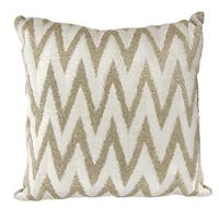 Mina Victory Luminescence Beaded Chevron Silver Throw Pillow by Nourison (18-Inch X 18-Inch)