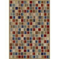 """Concord Global Jewel Checkerboard Gold Area Rug - 7'10"""" x 9'10"""""""