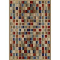Jewel Checkerboard Goldtone Polypropylene/Olefin Machine-made Rug - 6'7 x 9'3
