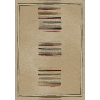 Jewel Stripes Ivory Polypropylene/Olefin Machine-made Rug (6'7 x 9'3)