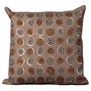 Mina Victory Luminescence Sequin Circles Taupe Throw Pillow by Nourison (20 x 20-inch)