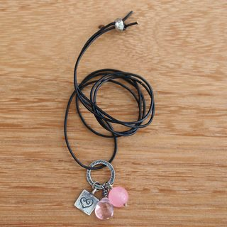 Handmade Sterling Silver Leather 'Inspiring Heart' Rose Quartz Necklace (Indonesia)