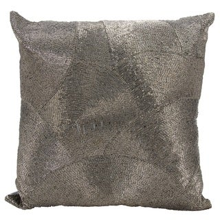 Mina Victory Luminescence Fan Design Pewter Throw Pillow by Nourison (20 x 20-inch)