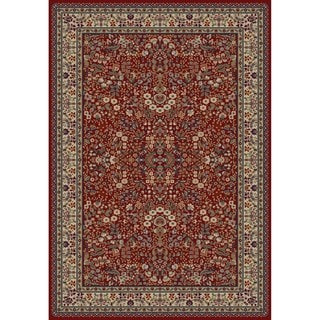 Jewel Sarouk Ivory/Red Polypropylene/Olefin/Synthetic Fiber Machine-made Rug (7'10 x 9'10)