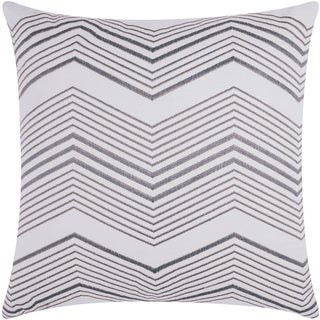 Mina Victory Luminescence Thin Chevron Silver Throw Pillow by Nourison (20 x 20-inch)