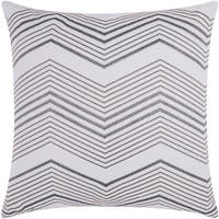 Mina Victory Luminescence Thin Chevron Silver Throw Pillow by Nourison (20-Inch X 20-Inch)