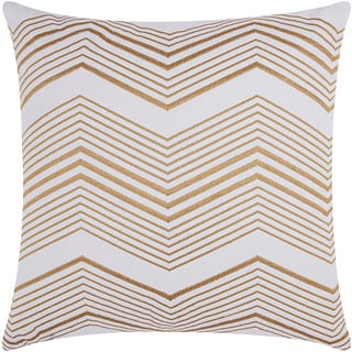 Mina Victory Luminescence Thin Chevron Gold Throw Pillow by Nourison (20 x 20-inch)