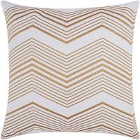 Mina Victory Luminescence Thin Chevron Gold Throw Pillow by Nourison (20-Inch X 20-Inch)