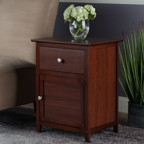 Winsome Brown Wood Night Stand with Drawer and Cabinet