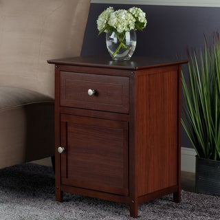 Winsome Walnut Finish Wood Night Stand with Drawer and Cabinet