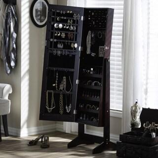 Carbon Loft Alderson Brown Freestanding Mirror Jewelry Armoire