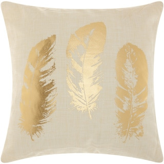 Mina Victory Luminescence Metallic Feathers Beige/Gold Throw Pillow by Nourison (18 x 18-inch)