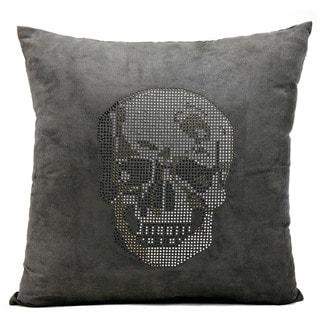 Mina Victory Luminescence Rhinestone Skull Dark Grey Throw Pillow by Nourison (18-Inch X 18-Inch)