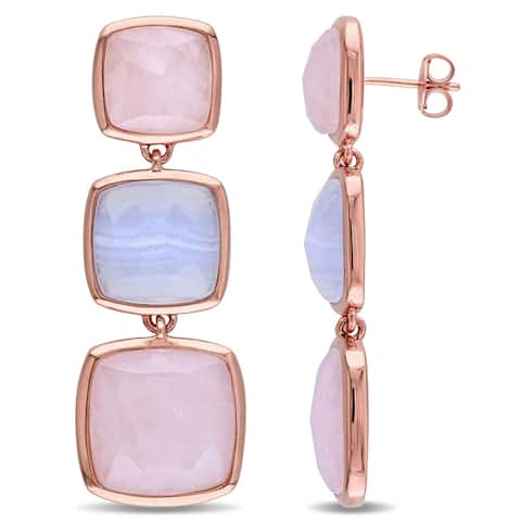 Miadora Rose Plated Sterling Silver Blue Lace Agate and Rose Quartz 3 Tiered Dangle Earrings