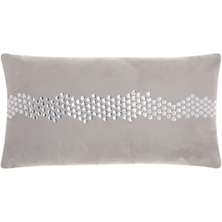 Mina Victory Luminescence Wavy Center Stones Silver/Grey Throw Pillow by Nourison (12 x 22-inch)