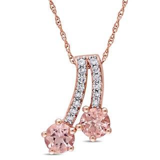 Miadora 10k Rose Gold Morganite and 1/6ct TDW Diamond Shooting Stars Necklace (G-H, I2-I3)