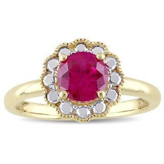 Miadora 10k Yellow Gold Created Ruby Birthstone Halo Ring