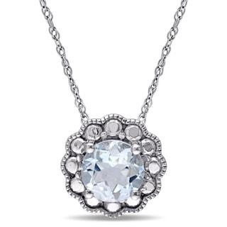 Miadora 10k White Gold Aquamarine Birthstone Halo Necklace