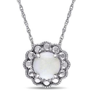Miadora 10k White Gold Opal Birthstone Halo Necklace