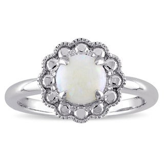 Miadora 10k White Gold Opal Birthstone Halo Ring