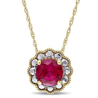 Miadora 10k Yellow Gold Created Ruby Birthstone Halo Necklace
