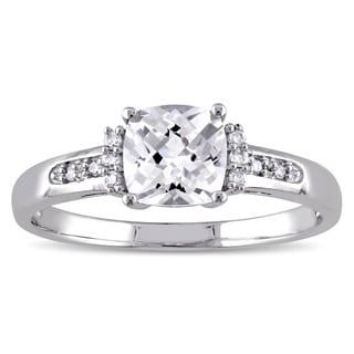 Miadora 10k White Gold Cushion-Cut Created White Sapphire and Diamond Accent Engagement Ring