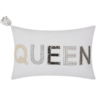 Mina Victory Luminescence Beaded Queen White Throw Pillow by Nourison (12-Inch X 18-Inch)