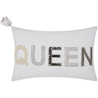 Mina Victory Luminescence Beaded Queen White Throw Pillow by Nourison (12 x 18-inch)