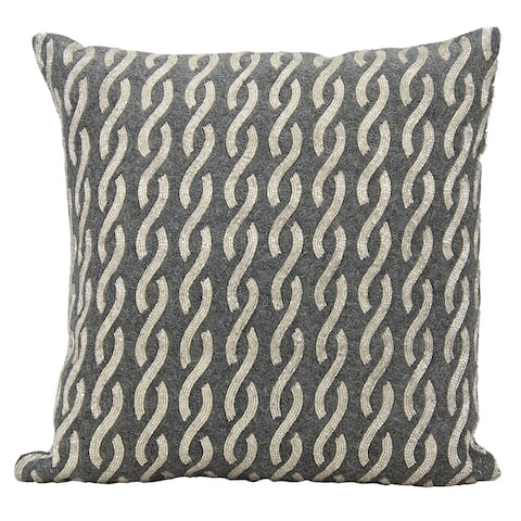 Mina Victory Luminescence Beaded Infinities Silver/Grey Throw Pillow by Nourison (18-Inch X 18-Inch)