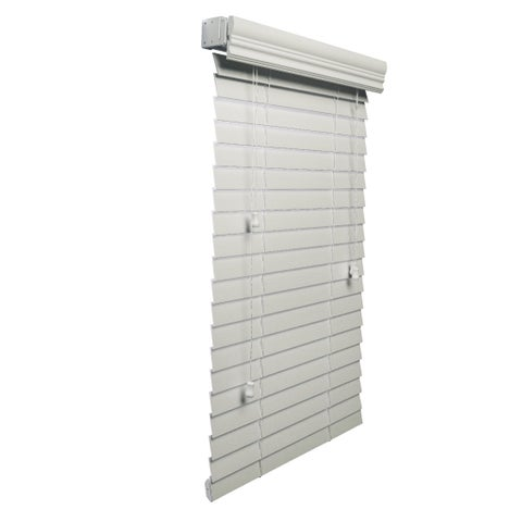 White 2-inch Faux Wood Blind 52 to 70-inch wide