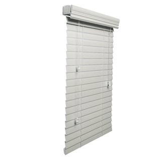 White Faux Wood 71 to 95-inch Wide 2-inch Blind