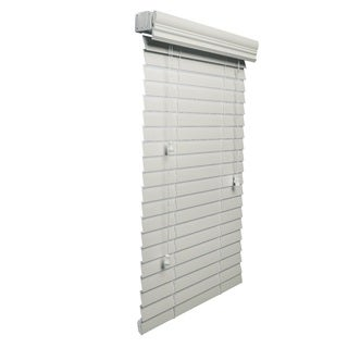 White 2-inch Faux Wood 71 to 95-inch wide Blind