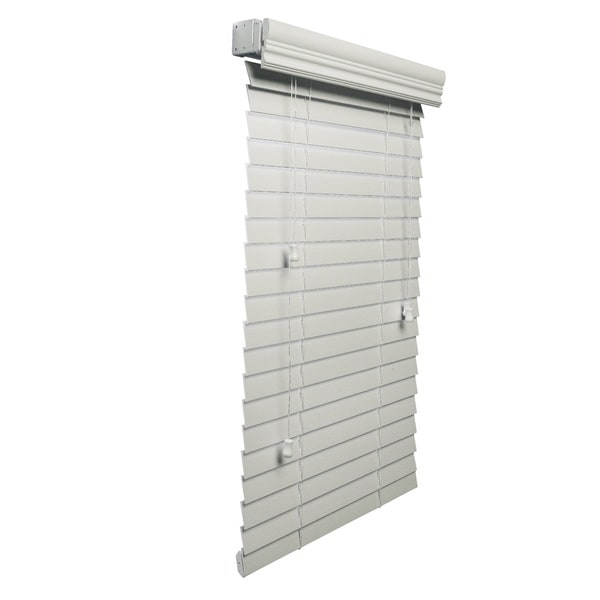 White 2-inch Faux Wood Blind 9 to 19-inch wide