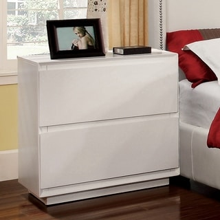 Furniture of America Cheshire Modern White Sleek Nightstand